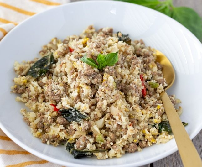 Ground beef with basil and cauliflower fried rice