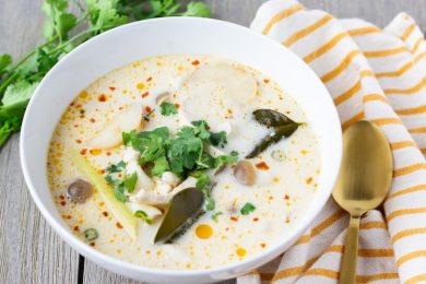 Tom Kha Gai- Thai Soup with Coconut Milk- ThaiCaliente.com