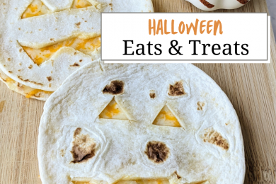 Quesadillas cut into jack o lanterns with text saying 'Halloween Eats and Treats