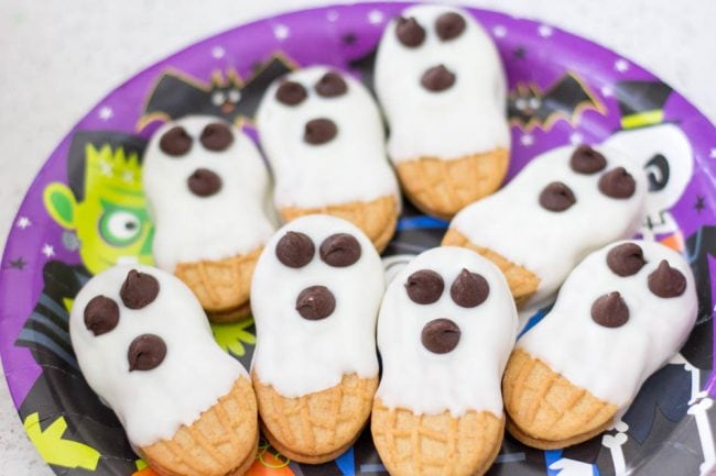 Nutter Butter Cookies dipped in white candy melts and decorated with chocolate chips for eyes.
