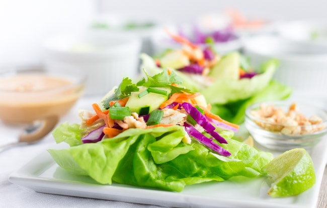 Thai Chicken Lettuce Wraps with Peanut Dressing