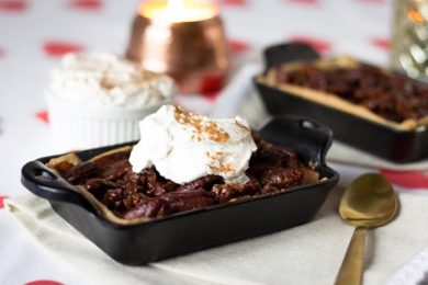 Abuelita Chocolate Pecan Pie with Cinnamon Whipped Cream- ThaiCaliente.com