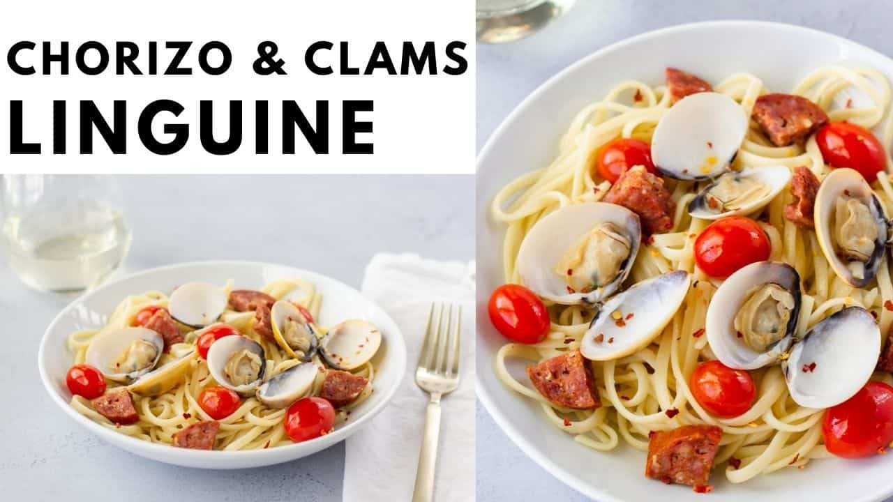 2 images of pasta dish with text on the top saying, 'Chorizo and Clams Linguine'.