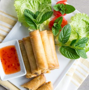 Thai Chicken Spring Rolls- deep fried and perfect for a party..