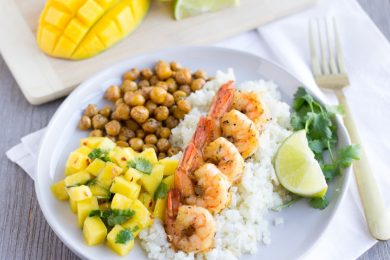 Jerk Shrimp with Coconut Cauliflower Rice, spiced chickpeas, and a mango salsa