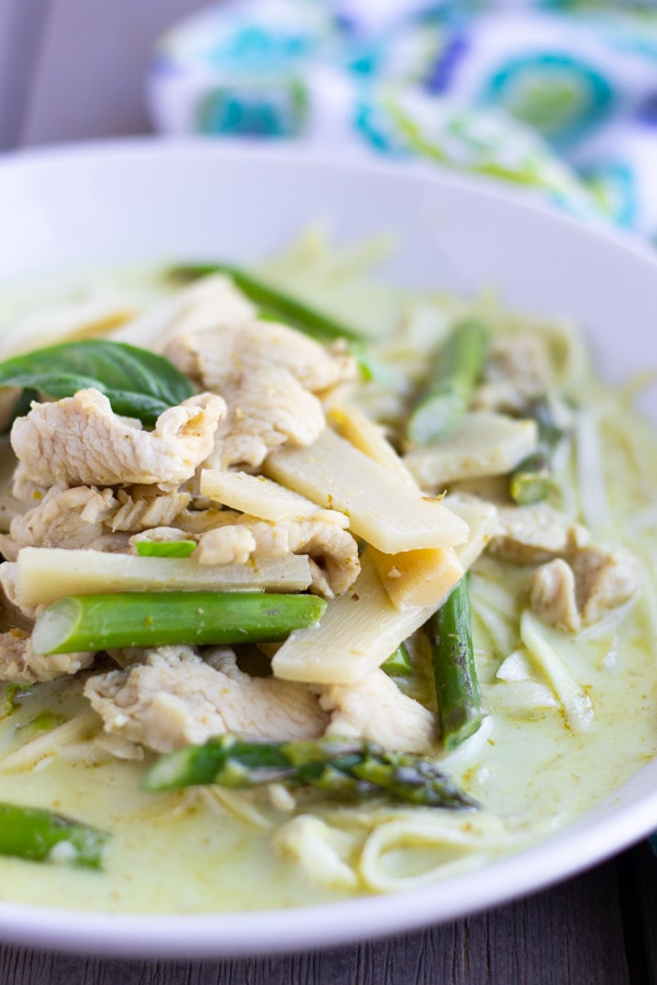 Up Close view of curry in a white bowl with chicken, bamboo, asparagus and zucchini noodles.