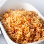 Rice in a White dish.