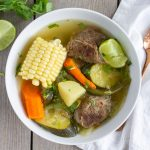 Caldo de Res Mexican Beef Soup with Corn, Carrots, Zucchini, Green Beans, and Potatoes. ThaiCaliente.com