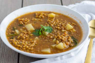 Sopa de Lentejas- Mexican Lentil Soup with potatoes- ThaiCaliente.com
