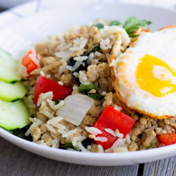 Completed fried rice bowl topped with a fried egg.