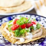 Close up of tostada on a blue plate
