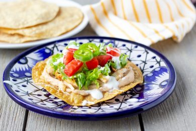 Landscape view of chicken tostada
