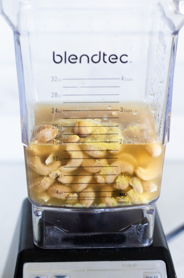 Soaked Cashews in a blender with vegetable stock.
