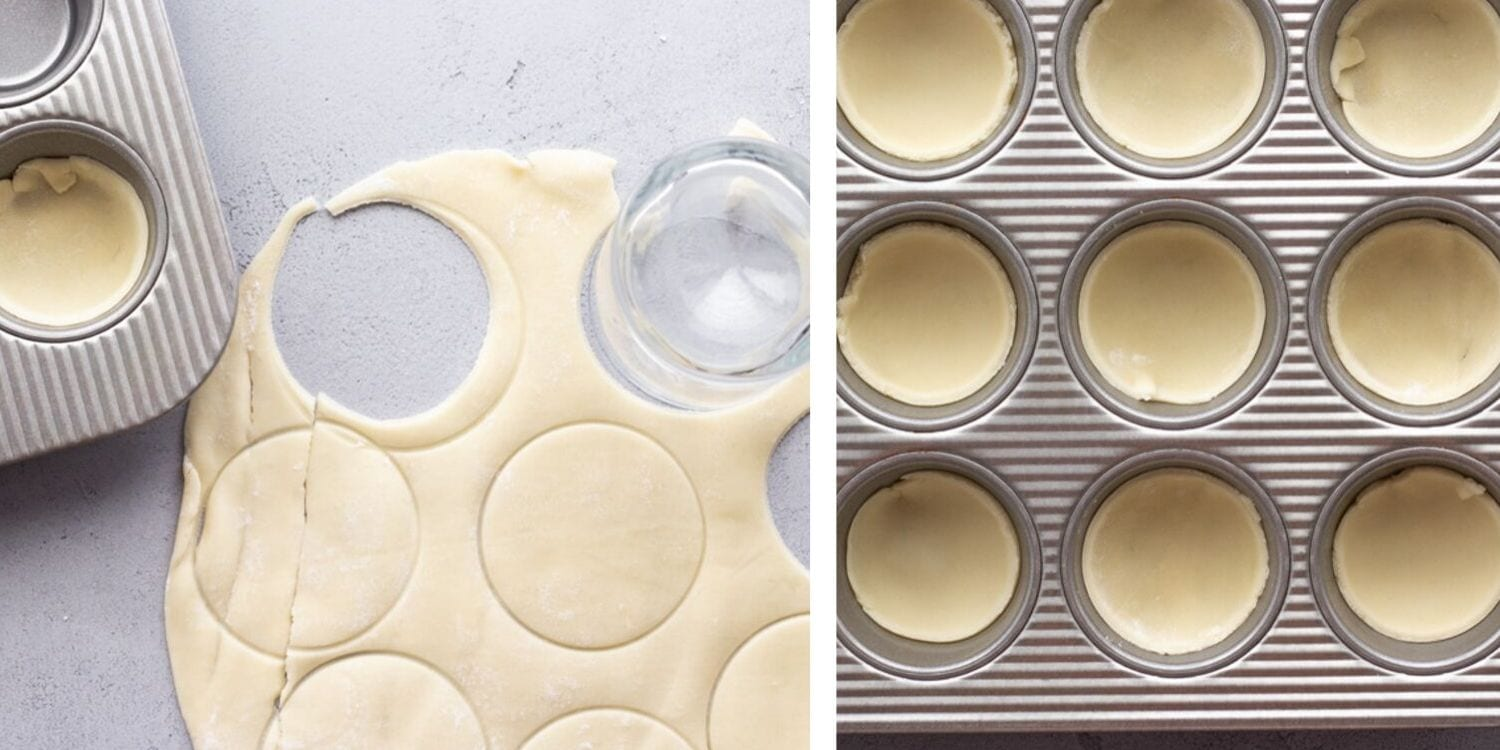 Collage of pie crust being cut into circles and placed in muffin tin