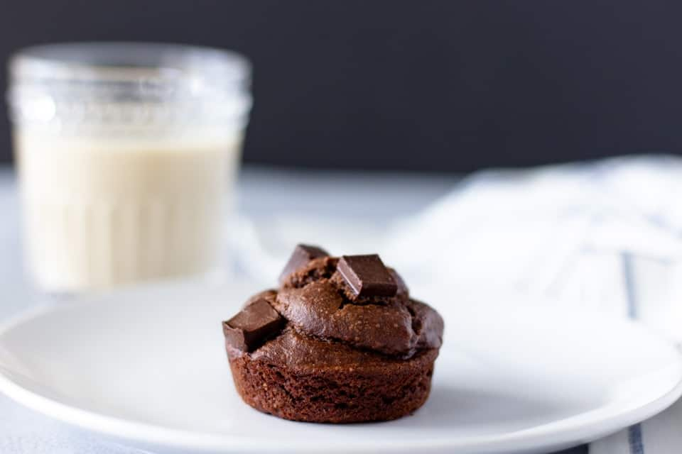 Single chocolate muffin on a white plate with a glass of milk in the background.