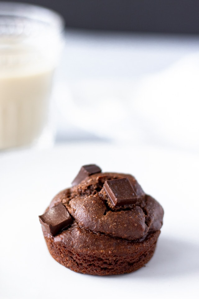 Single chocolate banana muffin on a white plate with a glass of milk in the background.