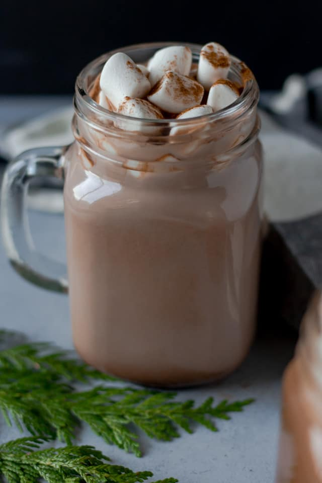One clear glass of hot cocoa topped with marshmallows.