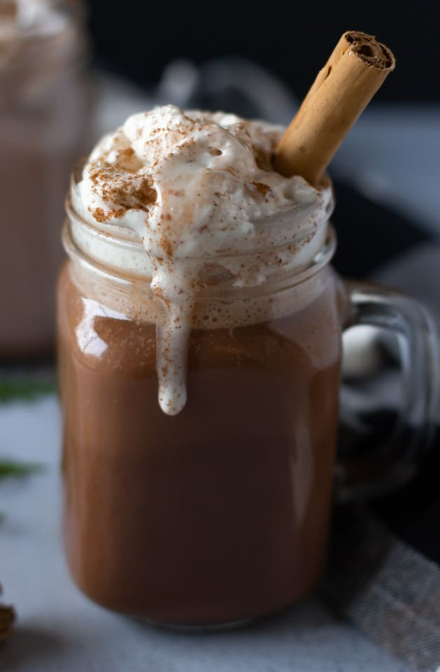 One clear glass of hot cocoa topped with melted whip cream and a cinnamon stick.
