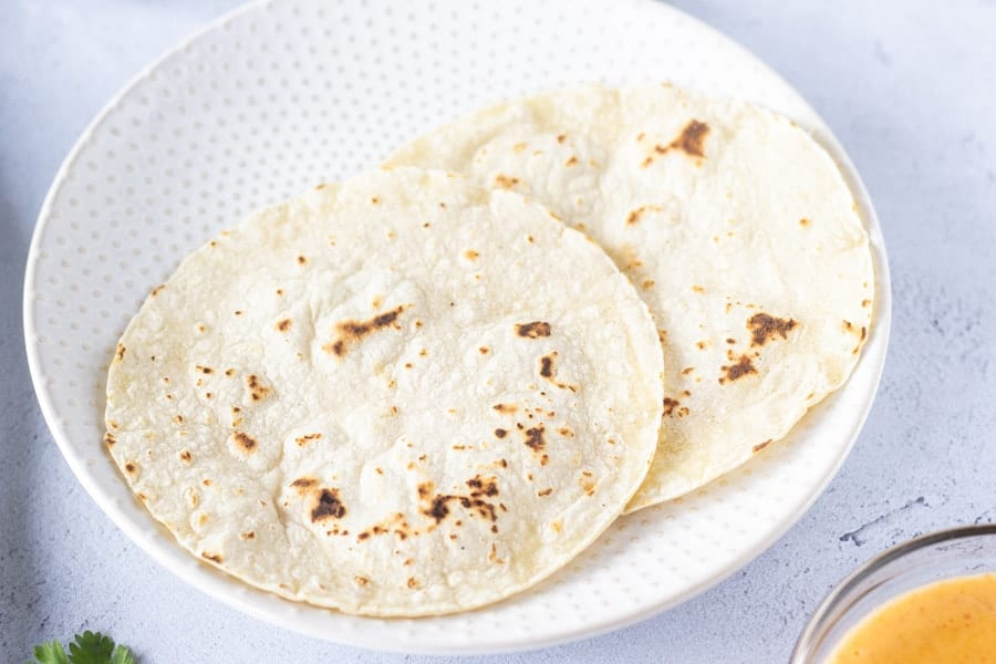 Toasted tortillas on a plate