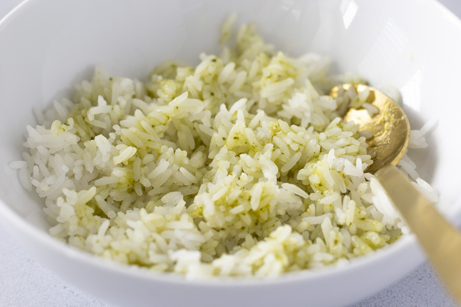 White rice mixed with salsa verde