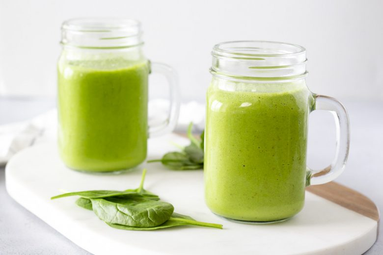 Landscape view of 2 green smoothies