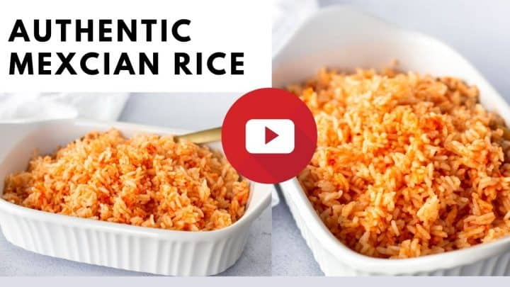 YouTube thumbnail with text saying, Authentic Mexican Rice.