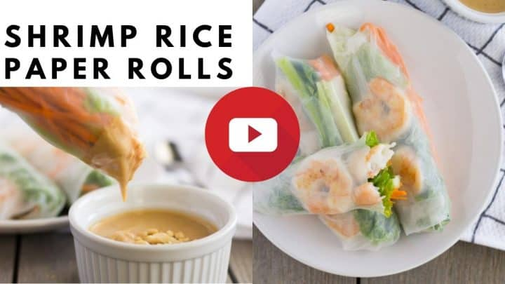 YouTube thumbnail with images and text saying 'shrimp rice paper rolls'.