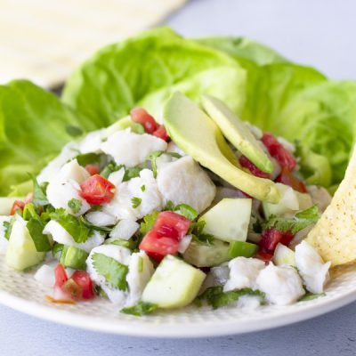 Horizontal view of Fish ceviche on a plate with lettuce leaves, topped with avocado, and chips on the side.