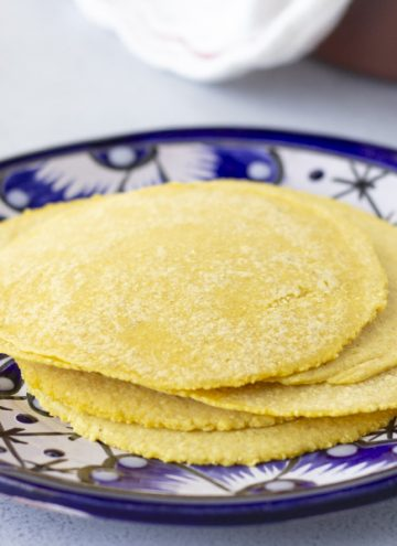 Horizontal view of yellow corn tortillas stacked on a blue plate.