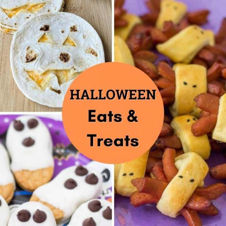 Feature image with text and pictures of Halloween Food.