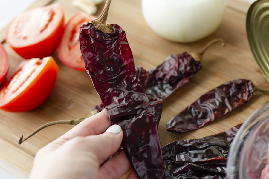 Up close view of dried guajillo chili