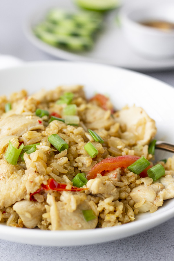 Fried rice in a white bowl topped with green onions.