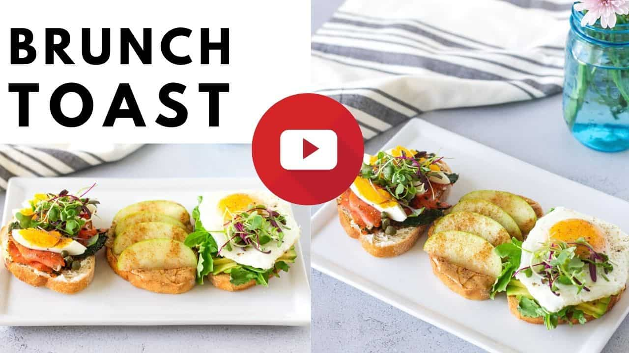 YouTube thumbnail with 2 images and toast on a white plate and text saying, 'Brunch Toast'.