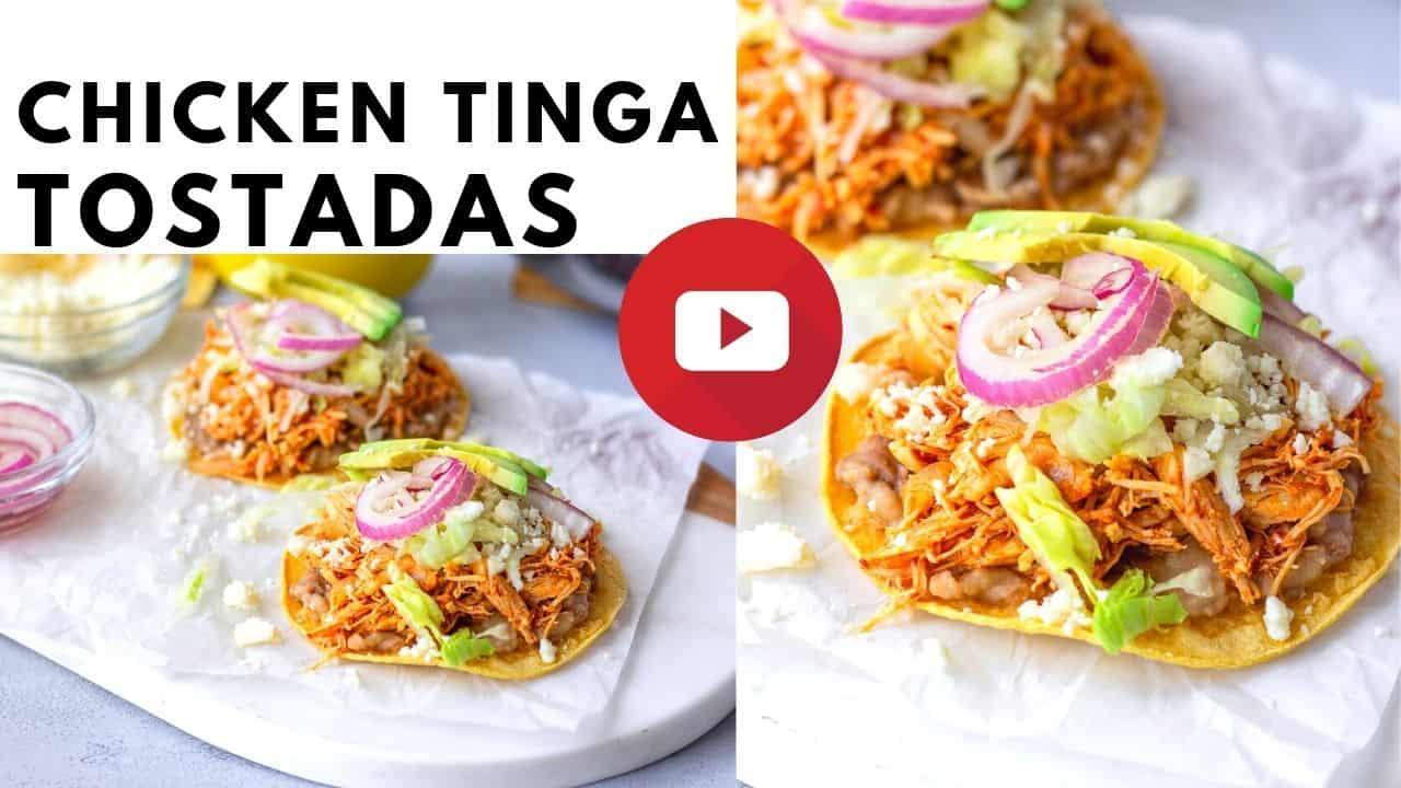 YouTube thumbnail with text saying Chicken Tinga Tostadas