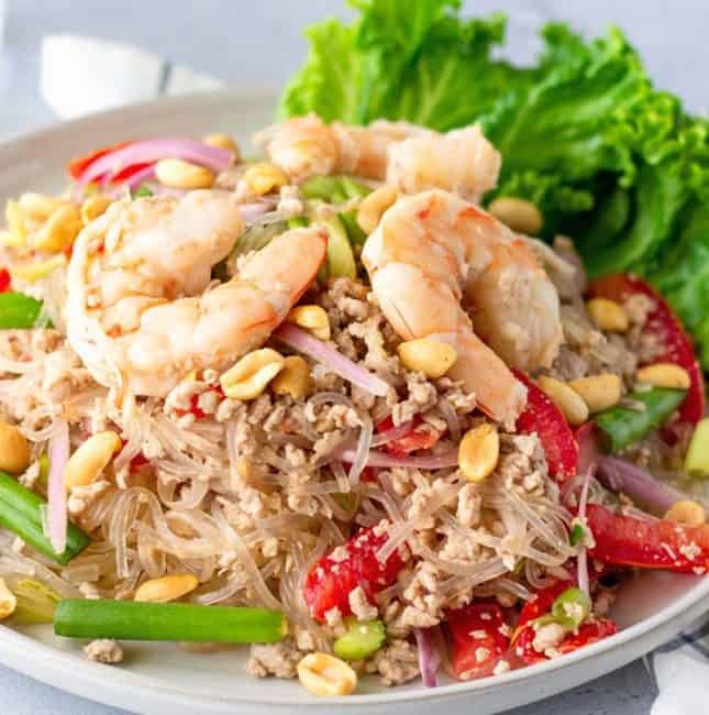 Feature image of glass noodle salad topped with shrimp.
