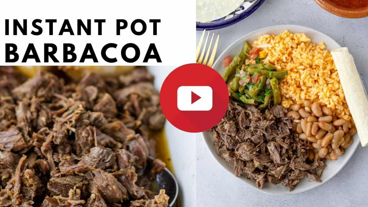 YouTube thumbnail with text saying, 'Instant Pot Barbacoa'.