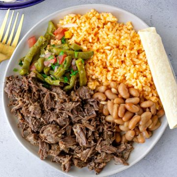 Barbacoa on a round plate with beans, rice, and cactus salad.