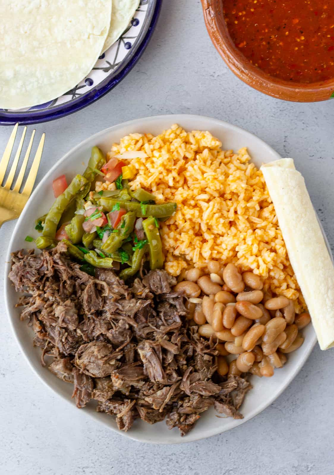 Overhead view of barbacoa on plate with beans, rice, cactus salad, and a rolled tortilla.