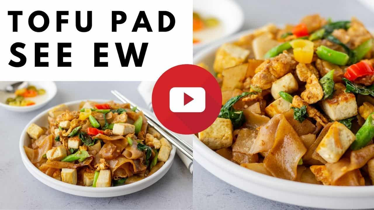 YouTube thumbnail with 2 images of noodles and text saying, 'Tofu pad see ew'.