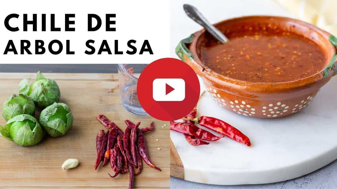 YouTube thumbnail with image of salsa and ingredients.