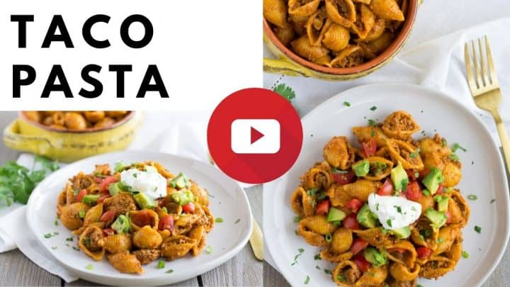 YouTube thumbnail with text saying, 'Taco Pasta' and 2 images of pasta.