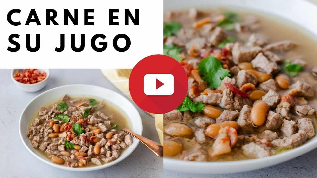 YouTube thumbnail with images of carne en su jujo and text.