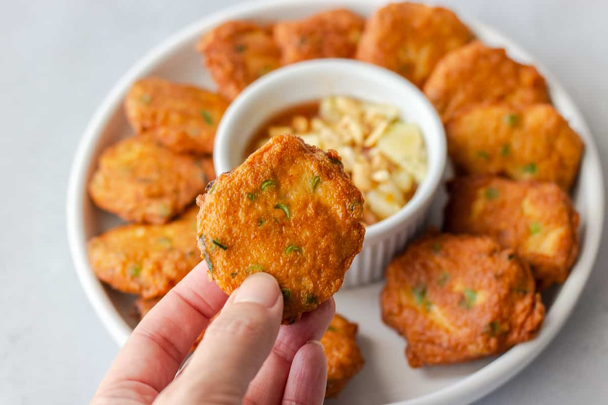 Hand holding a fish cake.